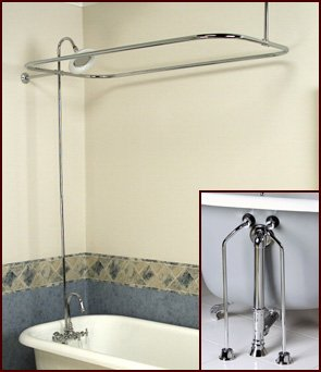 Complete Brass Add On Shower Combo Set For Clawfoot Tub Faucet Riser Show