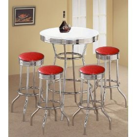 MAN CAVE 4 Custom Made Red Glitter Vinyl Barstools and White Table Set