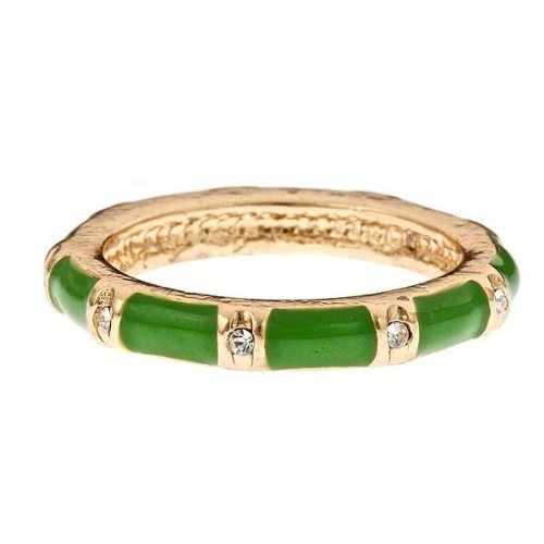 14K Gold Fill & Green Enamel Stackable Ring - Band With CZ Accents Size 6