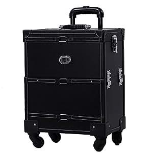 Songmics® Valise Mallette trolley à maquillage bijoux et cosmétique beauty case grande taille noir JHZ02H