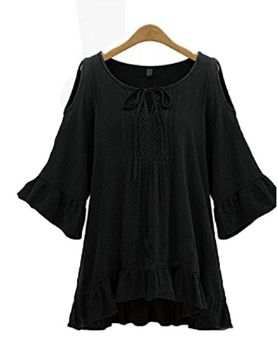 Tueenhuge Women's Cut Out Cold Shoulder Lace Trumpet Sleeve Spaghetti Strap Dress Top