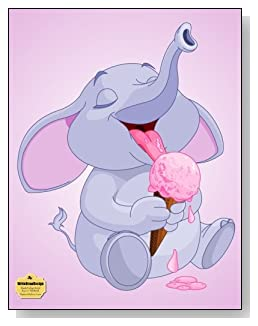 Elephant With Ice Cream Notebook - For anyone who loves elephants! Cute baby elephant with a melting ice cream cone provides a fun cover for this blank and college ruled notebook with blank pages on the left and lined pages on the right.