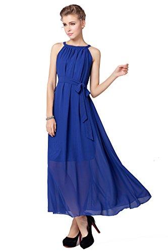 Fashion Plaza Elegant Chiffon Tie Neck Halter Maxi Dress With Belt W01005 (Royal Blue)