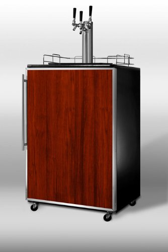 Summit Sbc4907Frtriple: Commercially Approved Freestanding Beer Dispenser With Black Cabinet, Triple Tap System, And Stainless Steel Door Frame For Custom Panels front-904078