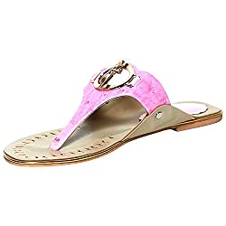 Craze Shop Womens Pink Artificial Leather Flat - 8.5 UK