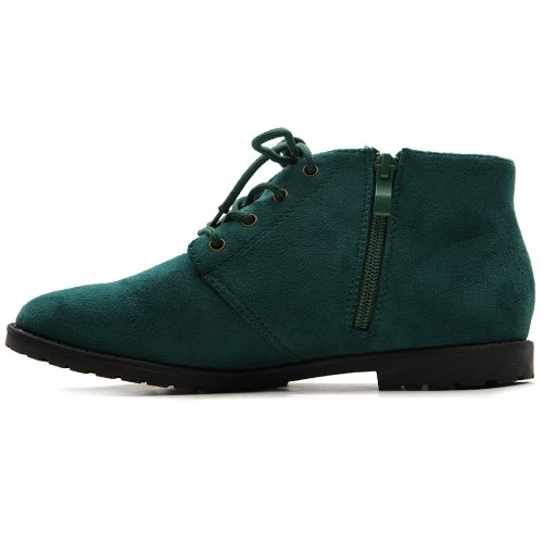 Ollio Women's Flat Shoe Classic Lace Up Zip Faux Suede Oxford(9 B(M) US, Dark Green)