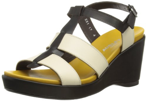 Audley - Scarpe col tacco, Donna, Nero (Black/Ivory/Yellow), 39 (Larghezza: D)
