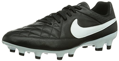 Nike - Scarpe da calcio Tiempo Genio Leather FG, Uomo, Nero (Black/White), 44