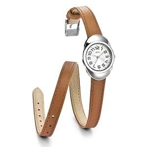 Opex - X3841LA1 - Dunea - Montre Femme - Quartz Analogique - Cadran Argent - Bracelet Cuir Marron