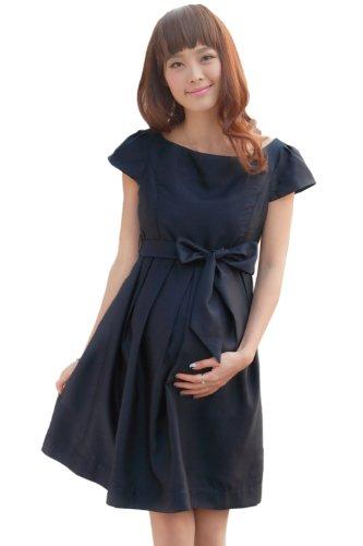 スウィートマミー (Sweet Mommy) シャンタン素材 日本製 フォーマル ワンピース 授乳服 / マタニティ M ネイビー