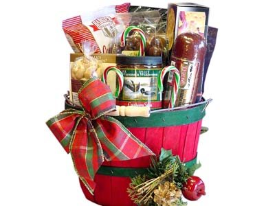 Red and Green Holiday Gourmet Treats Bushel Gift Basket