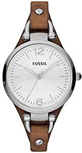 Silver Georgia Three-Hand Leather Watch by Fossil
