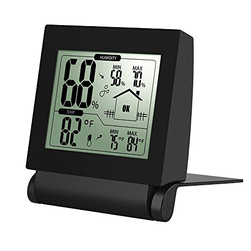 Habor Hygrometers Humidity Meter, Digital Hygrometer Thermometer Humidity Sensor Monitor with Alram Clock, Accurate Readings(°C/°F), Weather Station Wireless Themo Hygrometer with Min/Max Records