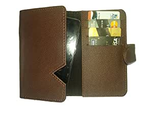 Premium Branded Fabric Leather Card Holder Pouch for Allview Viper i V1 - Brown - CHPDBR50#0086