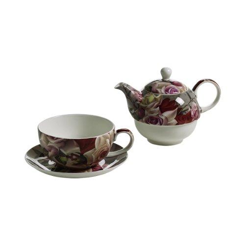 S3408710 Royal Old England Teeservice für 1 Person Teekanne Teetasse Untertasse Motiv Blumenstrauß in Geschenkbox Porzellan