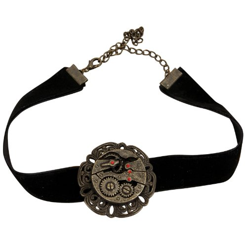 Elope Steampunk Black Velvet Antique Gear Choker Adult One-Size