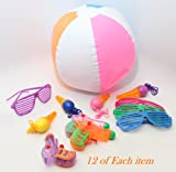 Summer Toy Assorment! 12 Shutter Sunglasses; 12 Squirt Guns; 12 Beach Balls & 12 Bubble Necklaces