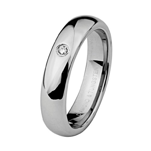 6mm High Polish Domed Cobalt Free Tungsten Carbide Comfort-Fit Bezel Set Solitaire Diamond Wedding Band Ring (Size 5 to 9) - Size 5