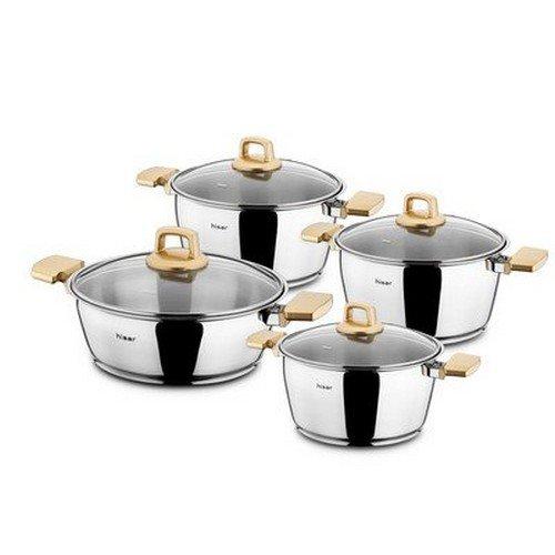 Hisar 8 Piece Neptun Stainless Steel Pot Set, Gold