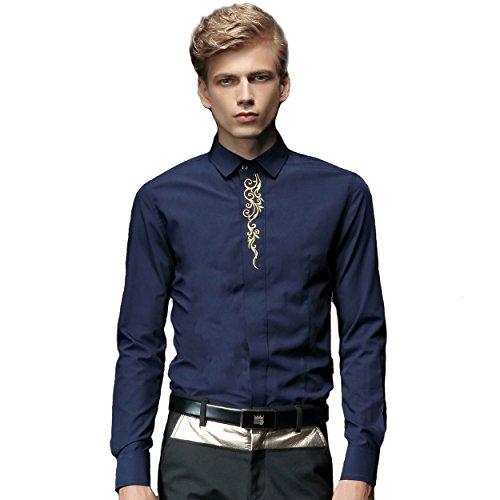 FANZHUAN -  Camicia Casual  - Uomo Blue XXX-Large