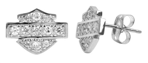Harley-Davidson® MOD® Women's White Bling Post Earrings HDE0228