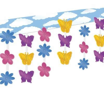 Beistle 50332 Butterfly and Flower Ceiling Decor, 12 by 12-Feet