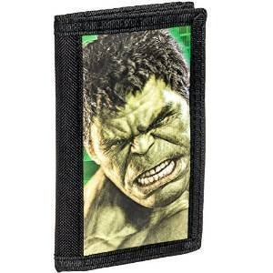 100% Authintic Hulk Wallet , Avengers Marvel Comics Wallet , Officially Licences Retro Collection Black with 3D Green Hulk Face- Adult , Kids Wallet by BB Designs.