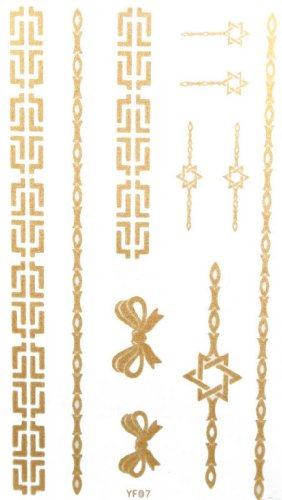 Spestyle Waterproof Non-Toxic Temporary Tattoo Stickerslatest New Design Waterproof Gold Butterfly Bow And Jewelry Temporary Tattoos For Necklaces Bracelets Anklets