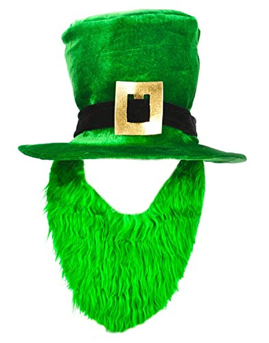 St. Patricks Day Costume Green Leprechaun Top Hat And Beard - 1