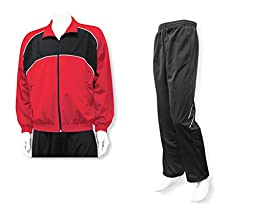 Men\'s casual warm up jacket/pant set - size Adult XL - color Red Jacket/Black Pants
