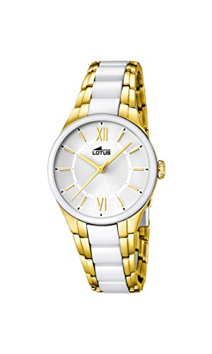 Lotus Women's Quartz Watch with White Dial Analogue Display and White Ceramic Bracelet 15935/1