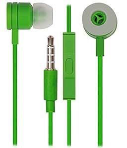 Jkobi 3.5mm In Ear Bud Handsfree Headset Earphones With Mic Compatible For Huawei Ascend P7 Mini -Green