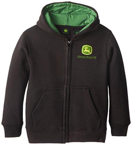 John Deere Little Boys' Zip Fleece Trademark Hoodie, Black, 5 front-302497