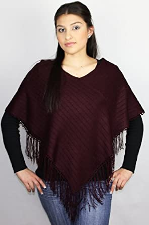 Handmade Poncho - Rich Sonoma Wine (100% Hand-crocheted Border/small to Medium Size)