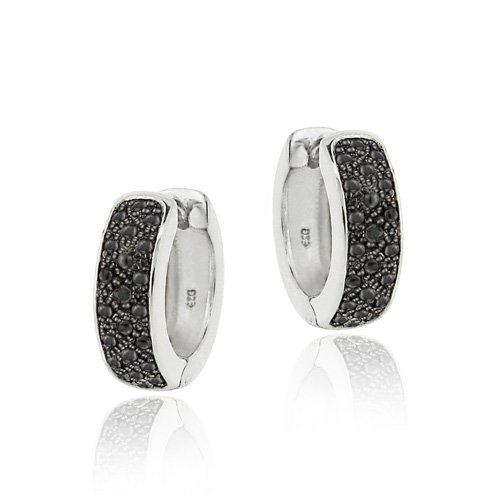 Sterling Silver Black Diamond Accent Huggies Hoop Earrings