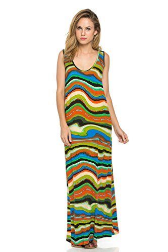 Frumos Womens Tropical Sleeveless Racerback Maxi Dress XXX-Large Green Wave