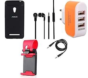 NIROSHA Cover Case Headphone Mobile Holder Charger for ASUS Zenfone 5 - Combo