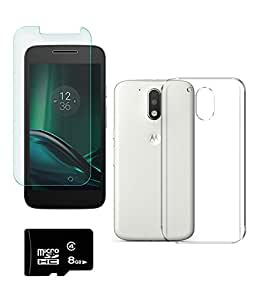DEPARQ Transparent back cover for Moto G Play, 4th Gen With 8 GB MEMORY CARD AND SCREEN GUARD