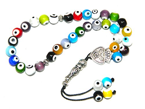 A2-0085 - Prayer Beads Worry Beads Tasbih Mixed Glass Lucky Evil Eye Handmade by Jeannieparnell