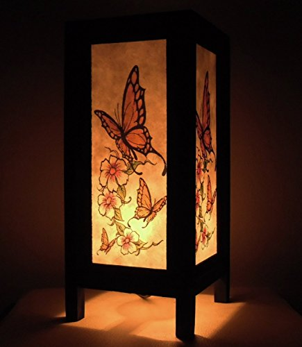Thai Vintage Handmade Asian Oriental Butterfly Bedside Table Light or Floor Wood Paper Lamp Shades Home Bedroom Garden Decor Modern Design From Thailand Copter Shop (Shoe Polish Timberland compare prices)