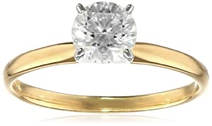 IGI Certified 18k Gold Classic Round-Cut Diamond Engagement Ring (1.0 cttw, H-I Color, SI1-SI2 Clarity) from Amazon Curated Collection