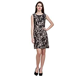 MansiCollections Women's A-line Black, Grey Dress (X-Large)
