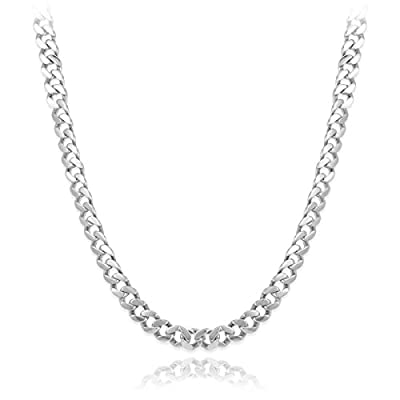 Men's Solid 14k White Gold 10mm Cuban Link Chain Necklace