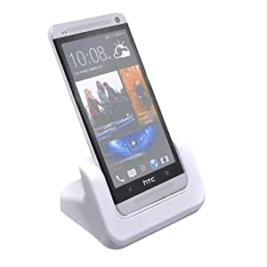 Patuoxun Charger Cradle for HTC One M7 Black - Case Adaptor Fit Phone with or without a Slim Case White
