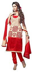 Avc Women's Cotton Unstitched Dress Material (Red and Beige)