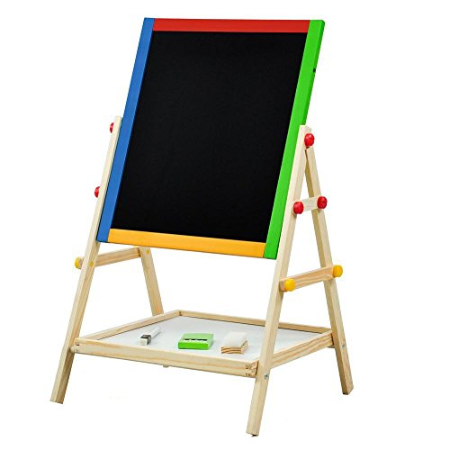 World Pride 2 in 1 Black / White Wooden Easel Board Kids Drawing Artist Easel,Small,21-25.6 x 14.8 x 13.4inch