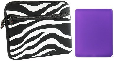 -- Combo Deal -- ZEBRA Safari Black and White EXOTIC Sleeve + PURPLE Skin Bumper for Apple iPad {+ 1pc name tag} -- Best Deal on Amazon!