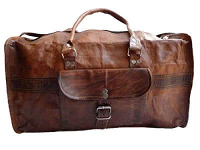 Gusti Leather Genuine Travel Hand Luggage Sports Gym Holdall Weekend Duffle Overnight Vintage Camera Leisure Bag Medium Brown R4 by Gusti Leder