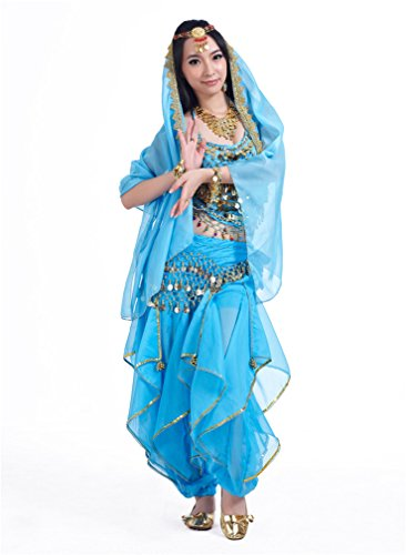 Dreamspell 2014 Professional Belly Dance Ligh Blue Suit 3 Pieces,Best Gift