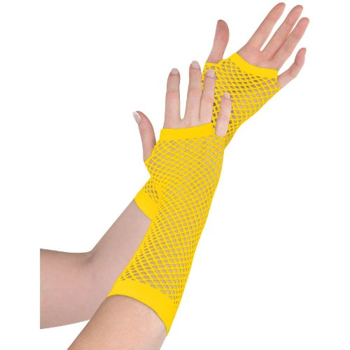 Yellow Fishnet Long Gloves